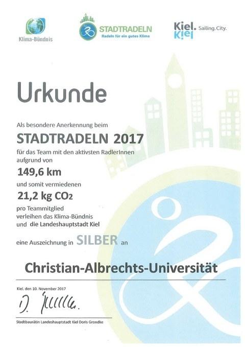 Urkunde STADTRADELN 2017