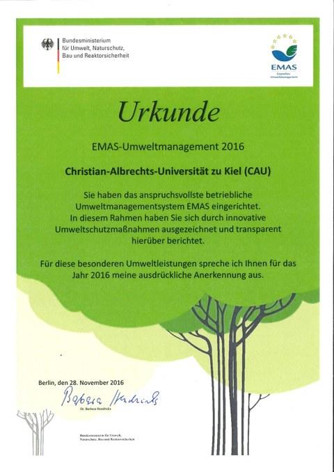 EMAS-Urkunde BMUB 2016