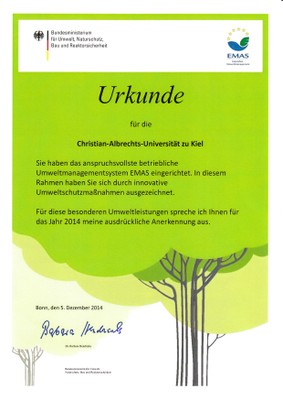 EMAS Urkunde Bundesumweltministerium